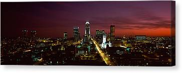 City Lit Up At Night, Indianapolis Canvas Print by Panoramic Images