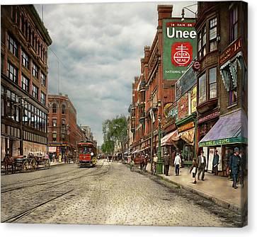 City - Lowell Ma - A Dam Good Company 1908 Canvas Print by Mike Savad