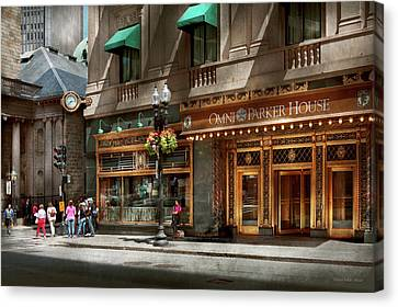 Canvas Print featuring the photograph City - Ma Boston - Meet Me At The Omni Parker Clock by Mike Savad