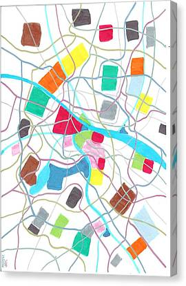 City Map Canvas Print by Jeroen Hollander
