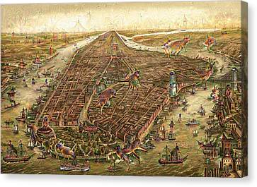 City Map New York Manhattan 1870 Deep Dream Canvas Print by Matthias Hauser