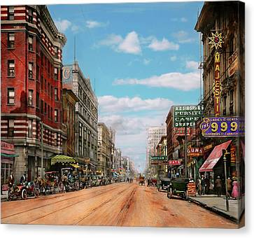 Canvas Print featuring the photograph City - Memphis Tn - Main Street Mall 1909 by Mike Savad