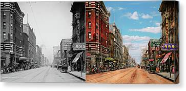 Canvas Print featuring the photograph City - Memphis Tn - Main Street Mall 1909 - Side By Side by Mike Savad