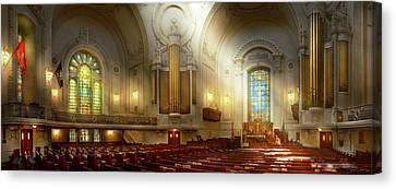 Canvas Print featuring the photograph City - Naval Academy - The Chapel by Mike Savad
