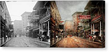 City - New Orleans - A Look At St Charles Ave 1910 - Side By Side Canvas Print by Mike Savad