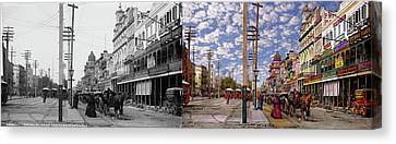 City - New Orleans - New Orleans The Victorian Era 1887 - Side By Side Canvas Print by Mike Savad