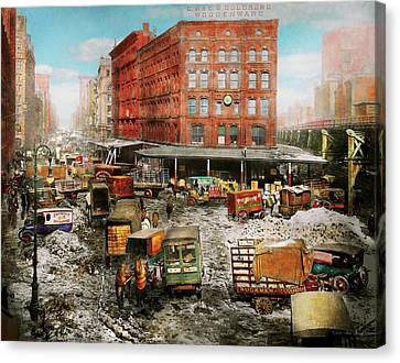 City - New York Ny - Stuck In A Rut 1920 Canvas Print by Mike Savad