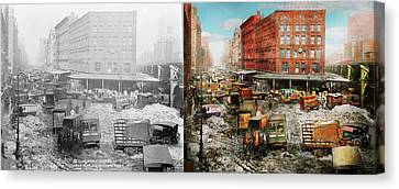 City - New York Ny - Stuck In A Rut 1920 - Side By Side Canvas Print by Mike Savad
