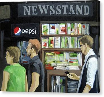 City Newsstand - People On The Street Painting Canvas Print by Linda Apple