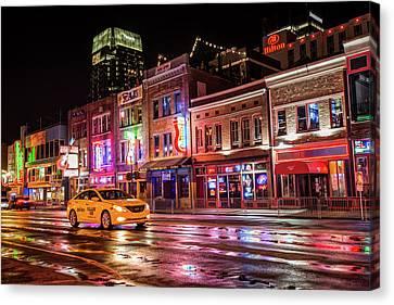 City Nights - Neon Lights On Lower Broadway - Nashville Tennessee Canvas Print