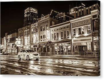 Nashville Skyline Canvas Print - City Nights Sepia - Neon Lights On Lower Broadway - Nashville Tennessee by Gregory Ballos