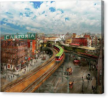 City - Ny - Chatham Square 1900 Canvas Print by Mike Savad