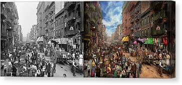City - Ny - Flavors Of Italy 1900 Side By Side Canvas Print by Mike Savad