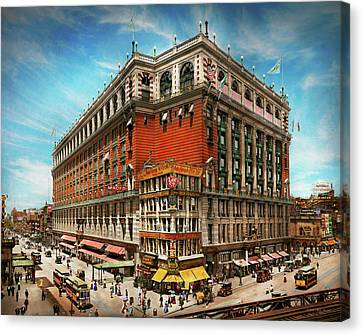 Canvas Print featuring the photograph City - Ny New York - The Nation's Largest Dept Store 1908 by Mike Savad