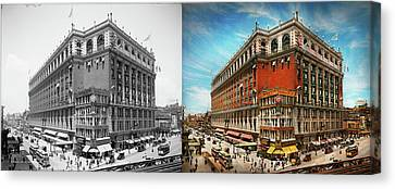 Canvas Print featuring the photograph City - Ny New York - The Nation's Largest Dept Store 1908 - Side by Mike Savad