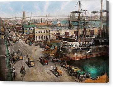 City - Ny - South Street Seaport - 1901 Canvas Print by Mike Savad