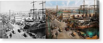 City - Ny - South Street Seaport - 1901 - Side By Side Canvas Print by Mike Savad
