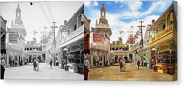 Bowery Canvas Print - City - Ny - The Great Steeplechase 1903 - Side By Side by Mike Savad