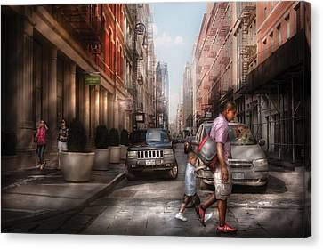 City - Ny - Walking Down Mercer Street Canvas Print by Mike Savad