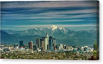 City Of Angeles Snow Capped Mountain Canvas Print by David Zanzinger