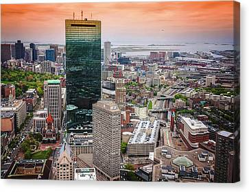 City Of Boston Reflected  Canvas Print
