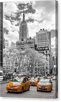 Yellow Building Canvas Print - City Of Cabs by Az Jackson