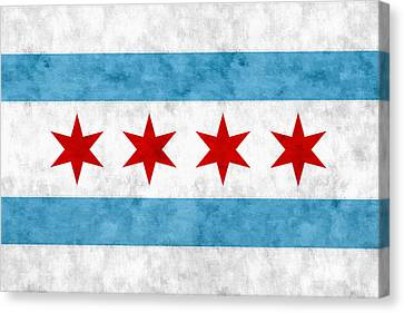 Canvas Print featuring the mixed media City Of Chicago Flag by Christopher Arndt