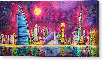 City Of Dubai Pop Art Original Luxe Life Painting By Madart Canvas Print