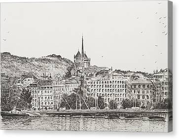 City Of Geneva Canvas Print by Vincent Alexander Booth