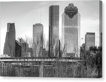 City Of Houston Texas - Black And White Skyline Canvas Print by Gregory Ballos