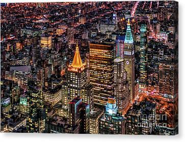 City Of Lights - Nyc Canvas Print by Rafael Quirindongo