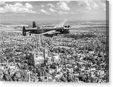 Canvas Print featuring the photograph City Of Lincoln Vn-t Over The City Of Lincoln Bw Version by Gary Eason