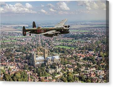 Canvas Print featuring the photograph City Of Lincoln Vn-t Over The City Of Lincoln by Gary Eason