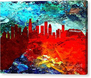 City Of Los Angeles Grunge Canvas Print by Daniel Janda
