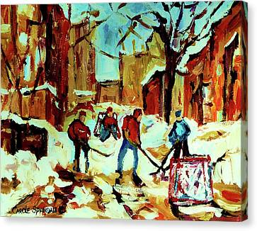 City Of Montreal Hockey Our National Pastime Canvas Print by Carole Spandau