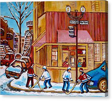City Of Montreal St. Urbain And Mont Royal Beautys With Hockey Canvas Print by Carole Spandau