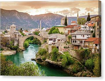 City Of Mostar And Neretva River Canvas Print