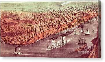 Charles River Canvas Print - City Of New Orleans by Currier and Ives
