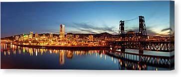 City Of Portland Skyline Blue Hour Panorama Canvas Print by David Gn