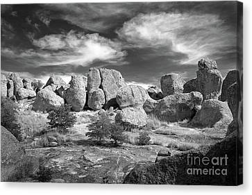 Canvas Print featuring the photograph City Of Rocks And Sky by Martin Konopacki