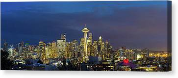 Canvas Print - City Of Seattle During Evening Blue Hour Panorama by David Gn