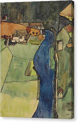 City On The Blue River Canvas Print by Egon Schiele