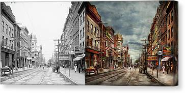 City - Poughkeepsie Ny - The Ever Changing Market Place 1906 - Side By Side Canvas Print by Mike Savad