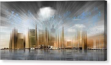 City Shapes Manhattan Skyline - Panoramic Canvas Print by Melanie Viola