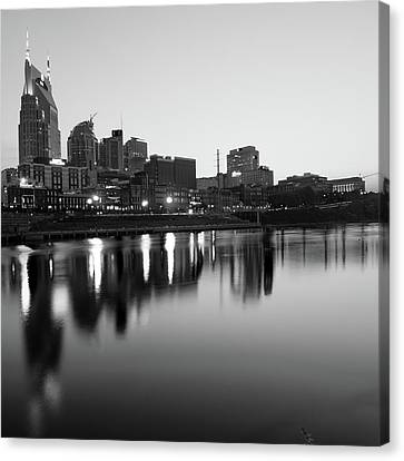 Downtown Nashville Canvas Print - City Skyline Of Nashville Tennessee - Square Art Black And White by Gregory Ballos