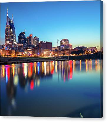 Downtown Nashville Canvas Print - City Skyline Of Nashville Tennessee - Square Art by Gregory Ballos