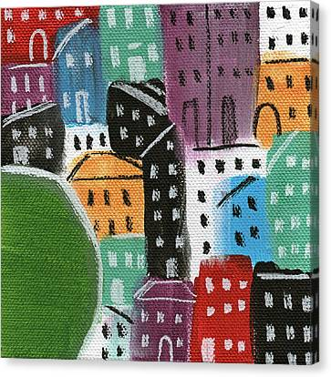 City Stories- By The Park Canvas Print by Linda Woods