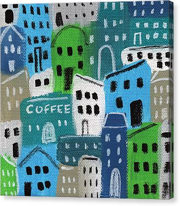 Naive Canvas Print - City Stories- Coffee Shop by Linda Woods