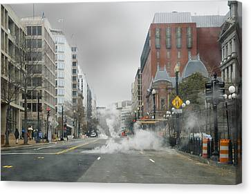 Canvas Print featuring the photograph City Street On A Rainy Day by Francesa Miller