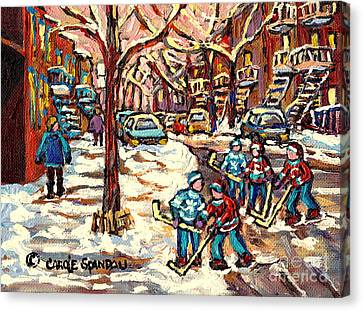 City Streets Of Montreal Winter Hockey Scene After The Snowfall Original Canadian Art Carole Spandau Canvas Print by Carole Spandau